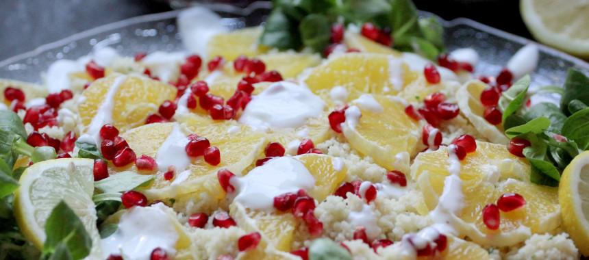 Granatapfel-Orangen-Couscous mit Zitronenvinaigrette!