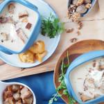 Eierschwammerlsuppe mit Walnuss-Croutons