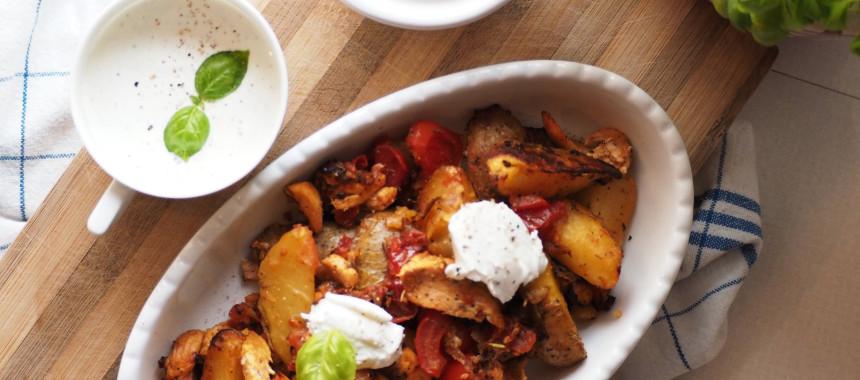 Ofengemüse mit Huhn und Ziegenkäse