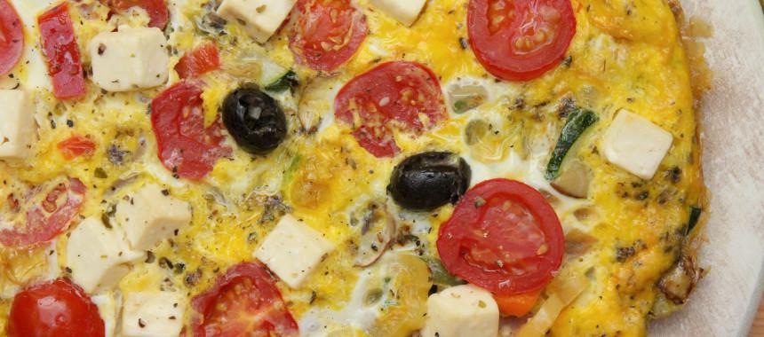 Frittata mit Feta und Oliven