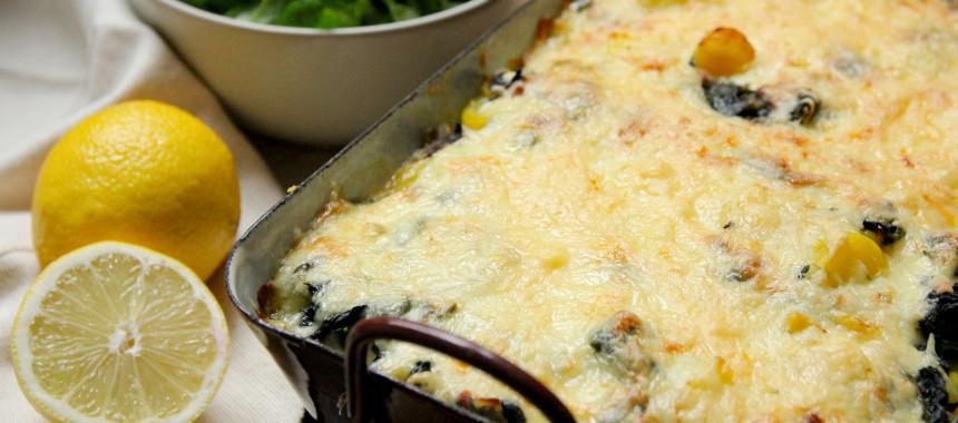 Kartoffel-Lachs-Gratin mit Spinat